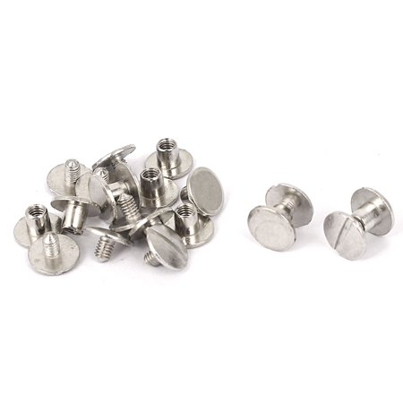 4mm x 4mm Metal Binding Chicago Screw Post Binder Sliver Tone 15 Pcs