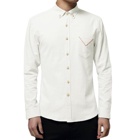 Men 39 S Long Sleeves Chest Pocket Button Down Casual Shirt