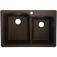 Fhp EODB33229-1 Mocha Granite Dual Offset Double Bowl Sink