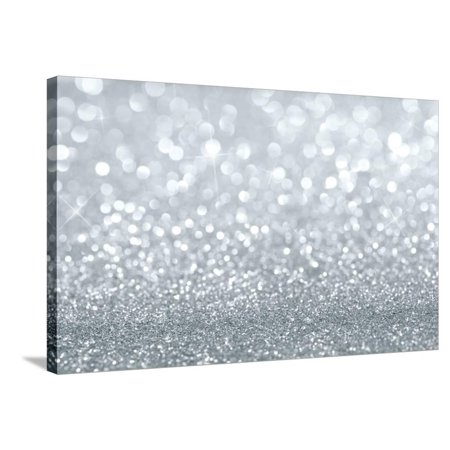 Glitter Wall Art (Silver Glitter Background Stretched Canvas Print Wall Art By)
