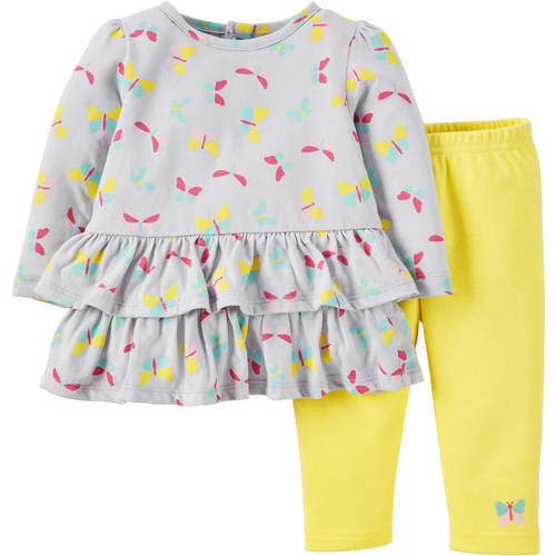 Child of Mine made by Carter's Newborn Baby Girls' Longsleeve Top and Pant Outfit Set 2 Pieces