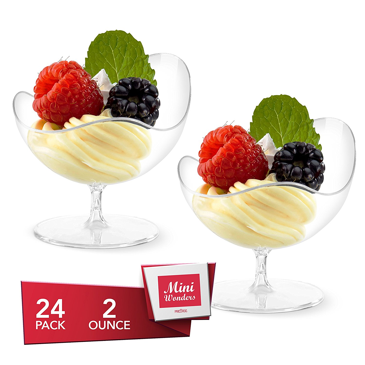 12 Tiny Plastic Oval Dessert DISHES.......... Small mini party dessert clear