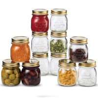 Quattro Stagioni Glass Mason Jars 8.5 Ounce Mini Jars (12-Pack) with Metal Airtight Lid, For Jam, Jelly, baby food, Crafts, Spices, Dry Food Storage, Wedding favors, Decorating Jar