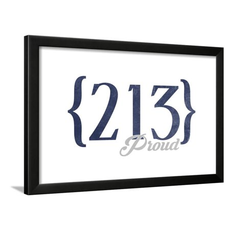 Los Angeles, California - 213 Area Code (Blue) Framed Print Wall Art By Lantern Press