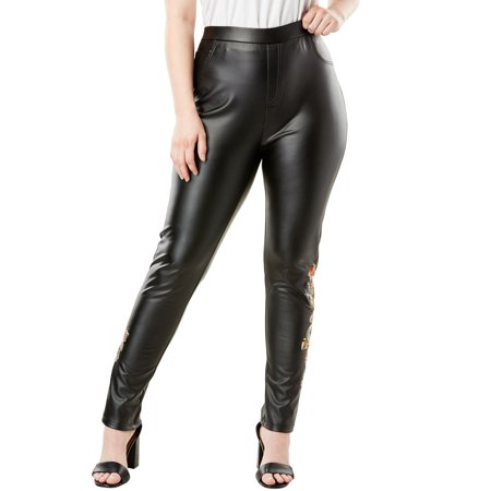 Roaman's Plus Size Embellished Faux Leather Pant