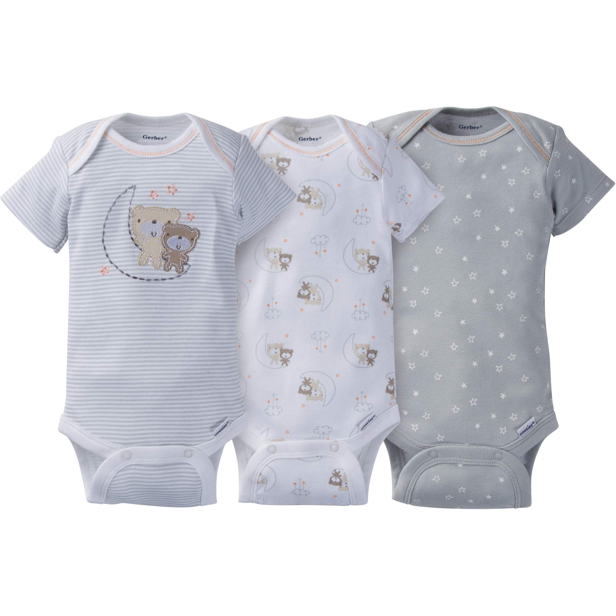 Image of Gerber Newborn Baby Boy or Girl Unisex Assorted Short Sleeve Onesies Bodysuits, 3-Pack