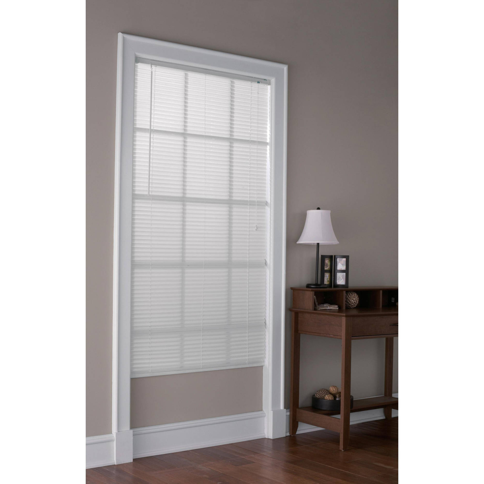 "Mainstays 1"" Light Filtering Vinyl Mini Blinds, White"