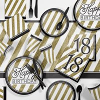 Black and Gold 18th Birthday Party Supplies Kit for 8 Guests