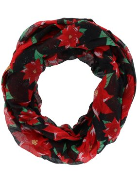 David & Young  Christmas Holiday Poinsettia Print Infinity Loop Scarf (Women's)