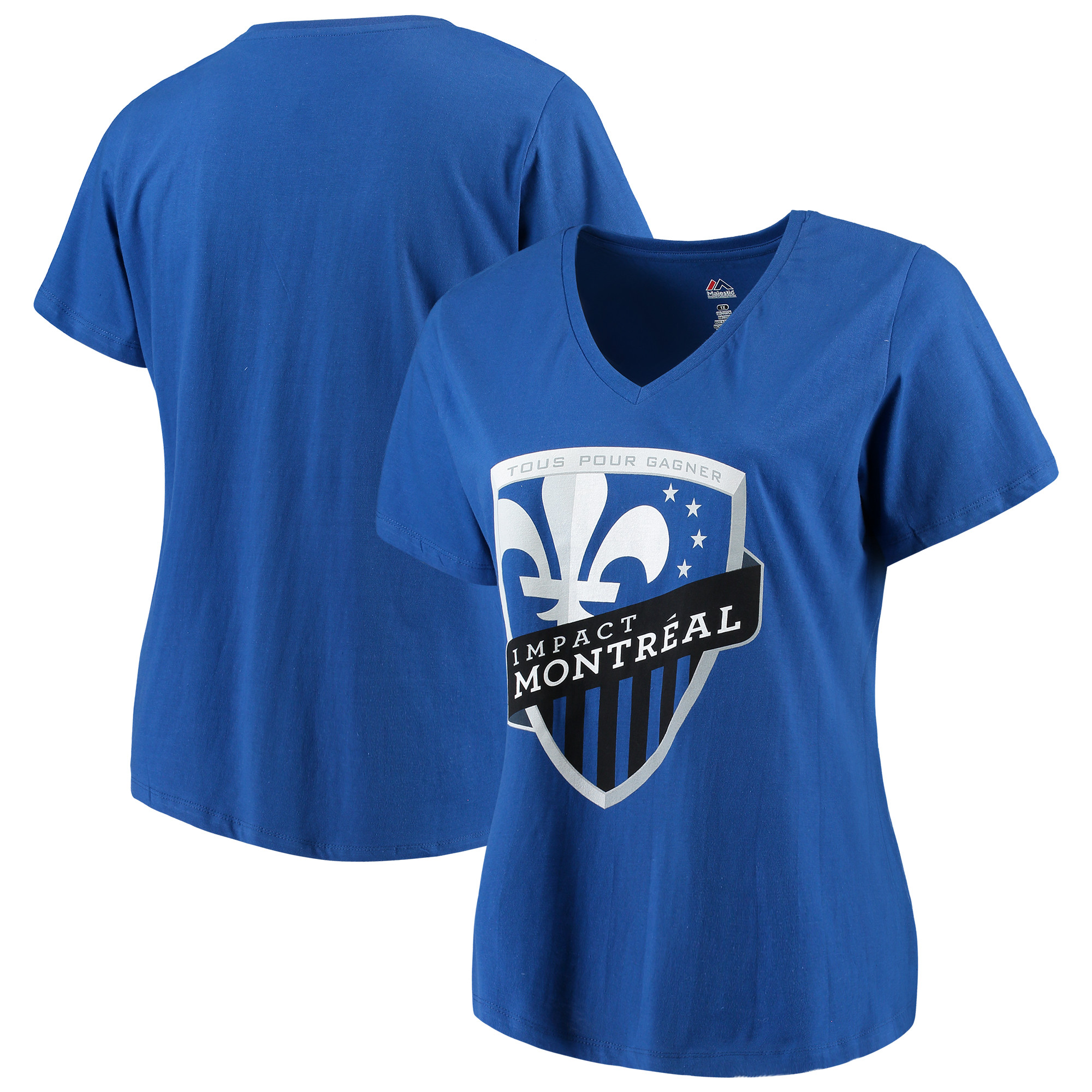 Montreal Impact Majestic Women's Plus Size Primary V-Neck T-Shirt - Royal