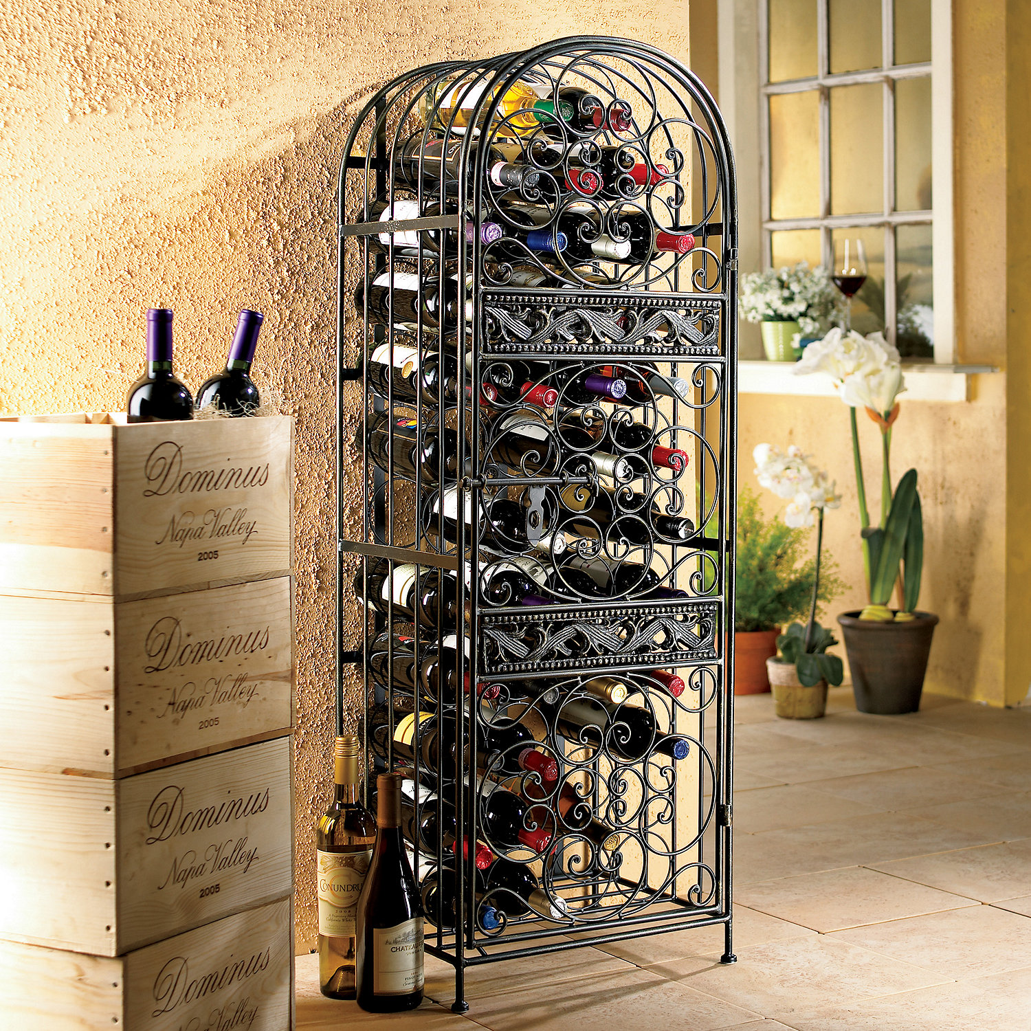 45-Bottle Renaissance Wrought Iron Wine Jail