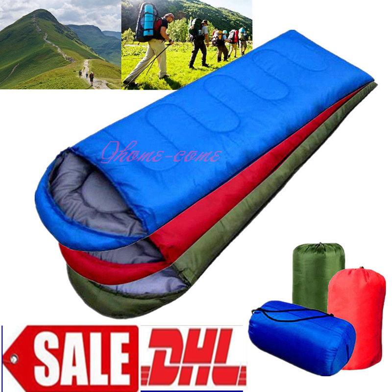 Blue Large Single Sleeping Bag Warm Soft Adult Waterproof Camping Hiking by