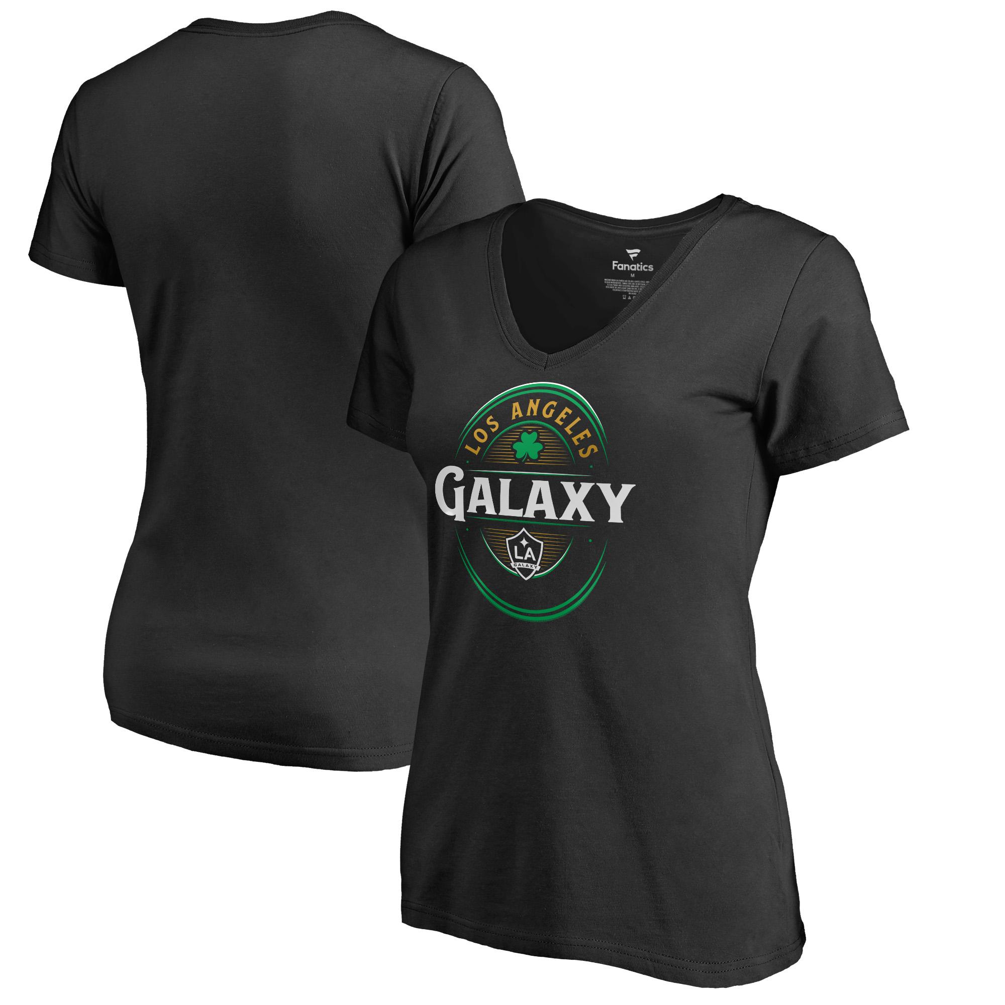 LA Galaxy Fanatics Branded Women's Forever Lucky V-Neck T-Shirt - Black