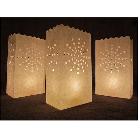 10 Pack - CleverDelights - White Luminary Bags - Sunburst - Halloween Luminary Bag Designs