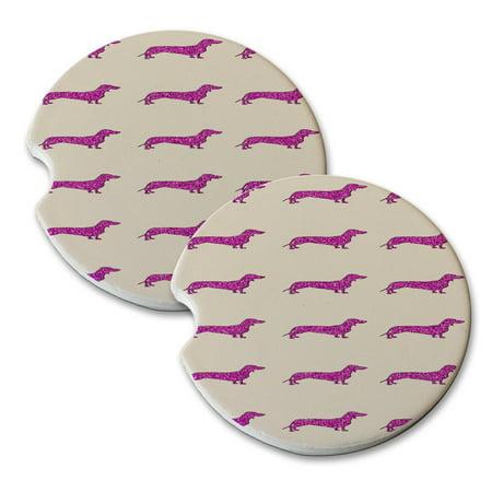 KuzmarK Sandstone Car Drink Coaster (set of 2) - Dachshund Dogs Pink (Pink Drink Coaster)