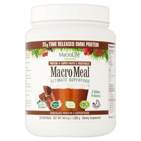 MacroLife Naturals Macro Meal Chocolate Protein + Superfoods Ultimate Superfood, 44.4 oz