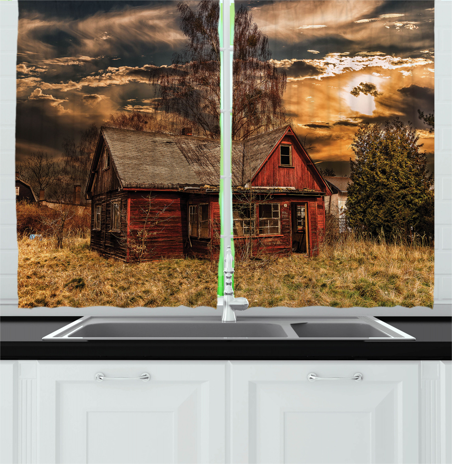 Scenery Curtains 2 Panels Set, Scary Horror Movie Themed