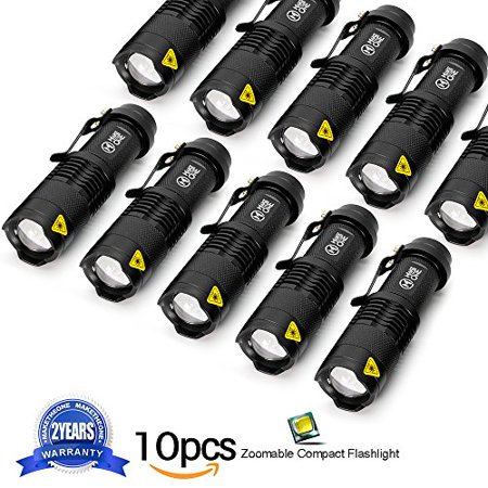 10 Pack Small EDC LED Flashlight 7W 350 Lumen Tactical Zoomable Pocket Torch Portable Flashlights Bulk Best Handheld Light for Home, Car, Office, Outdoor (Best Car For Hunting)