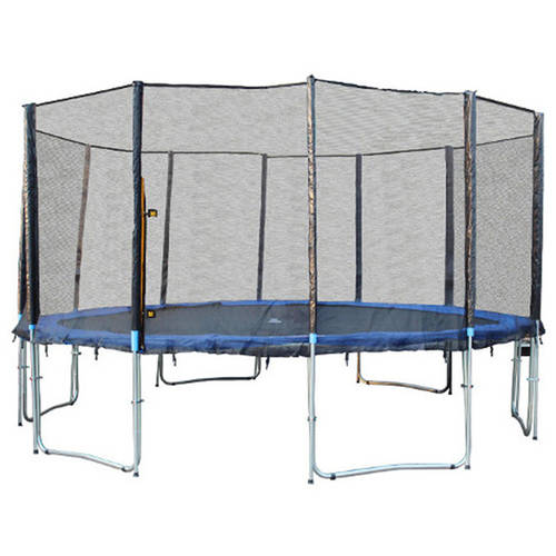 ExacMe 15-Foot Trampoline, with Enclosure and Ladder, Blue
