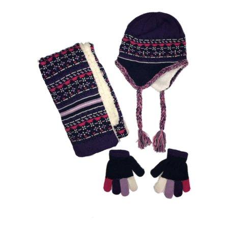 36bf6d931eb2ac Toby NYC Girls Purple Faux Fur Peruvian Winter Beanie Trapper Hat Scarf &  Gloves - Walmart.com