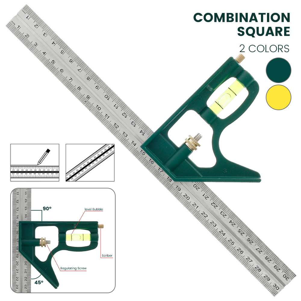 """300mm Adjustable Engineers Combination Try Square Set Right Angle Ruler 12/"""""""