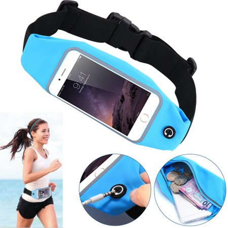 Blue Sports Workout Belt Waist Bag Case Gym Pouch Reflective Cover with  Touch Screen ZAD for Alcatel A30 Plus, Fierce 4, Idol 4 4S 5S, Jitterbug