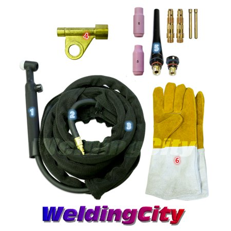 Tools Complete Package (WeldingCity WP-17V-12R Complete Ready-to-Go Package Gas-Valve 12.5' 150 Amp Air-Cooled TIG Welding Torch)