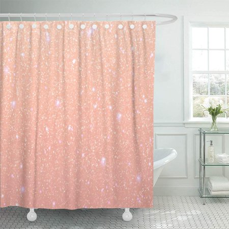 PKNMT Coral Pink Pastel Rose Sequins Peach Sparkle Pattern Holiday Designs Party Bathroom Shower Curtain 66x72 inch - Holiday Shower Curtain