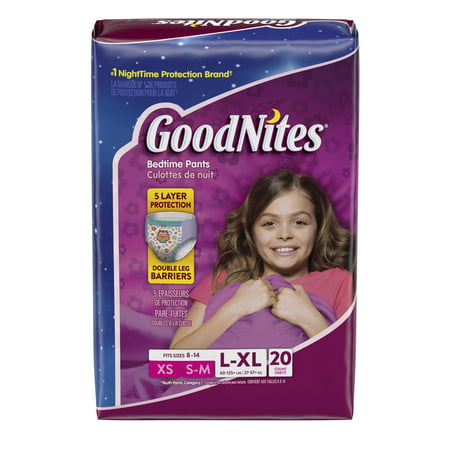 Goodnites Girls Bedtime Bedwetting Underwear, Size L-XL, 20 Count Pull Ups Goodnites Underpants