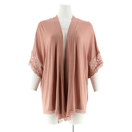 Mesh Kimono - LOGO Lori Goldstein Kimono Cardigan Mesh Insert Lace A273345