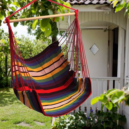 53.2 x 35.5 inches Cotton Hammock Hanging Chair Swing Seat For Outdoor Yard Patio Porch Garden Camping,Portable thumbnail