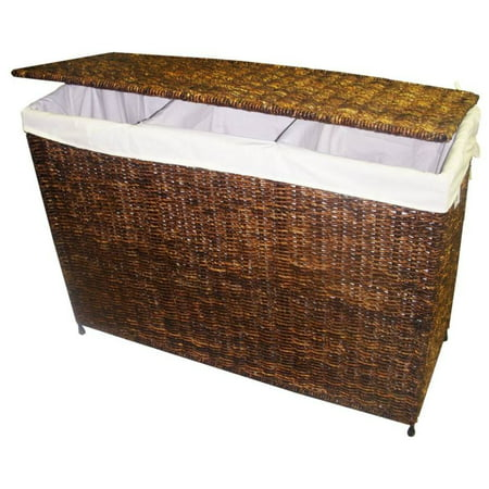 Woven Center (3-Section Woven Maize Hamper in Walnut Finish w Full Load Liner )