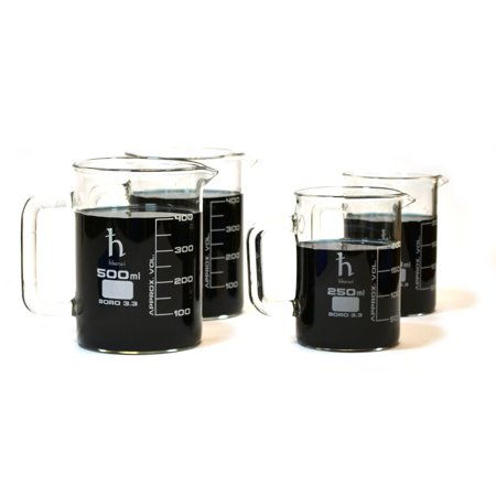 - Premium Hand Crafted Beaker Mugs, Laboratory Quality Borosilicate Glass, Kitchen Set, (2) 16.9oz (500mL) Capacity and (2) 8.4oz (250mL) Capacity