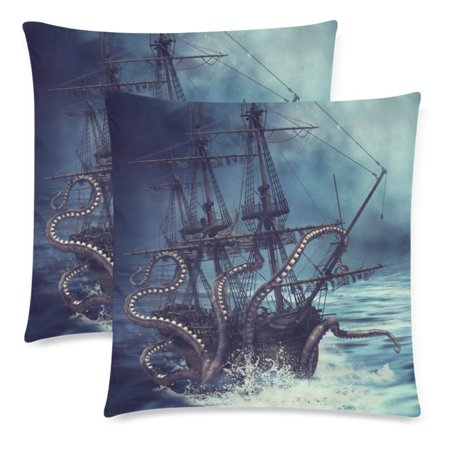 YKCG Octopus Sea Monster Pillowcase Protector 18x18 Twin Sides, Night Scene with a Pirate Ship Zippered Pillow Case Covers Decorative, Set of 2