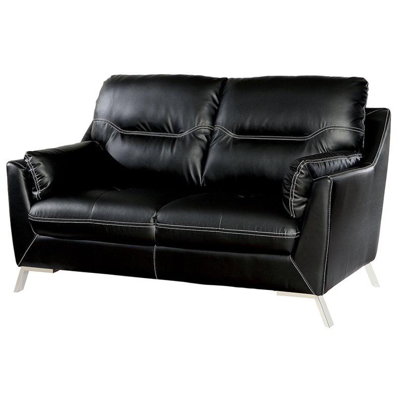 Furniture of America Dubas Faux Leather Loveseat in Black