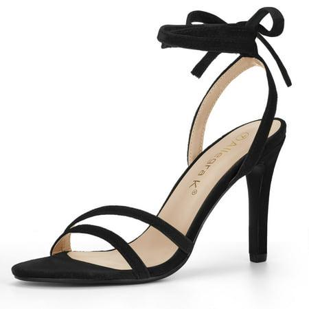Women's Open Toe High Heel Lace Up Sandals Black US 10 - image 7 de 7