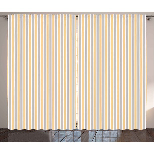 Vintage Curtains 2 Panels Set Blue And White Vertical Stripes On Orange Background Geometric Pattern Window Drapes For Living Room Bedroom 108w X 90l Inches Orange White Cadet Blue By Ambesonne