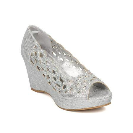 3440f6cb7982 Women Glitter Platform Wedge - Peep Toe Wedge Heel - Cut Out Heel - HK76 By  Celeste - Walmart.com