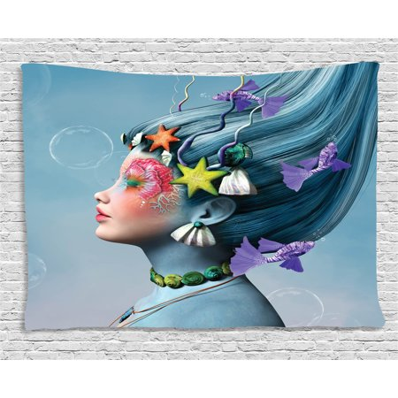 Mermaid Tapestry, Woman with Underwater Themed Make Up Hairstyle Starfishes Seashells Fishes Bubbles, Wall Hanging for Bedroom Living Room Dorm Decor, 60W X 40L Inches, Multicolor, by Ambesonne