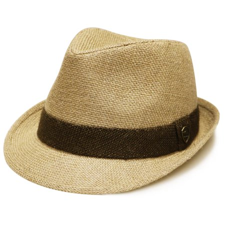 Pamoa Pms520 Solid Jute Straw Trilby Fedora Hat 4 Colors (L/xl, Natural)