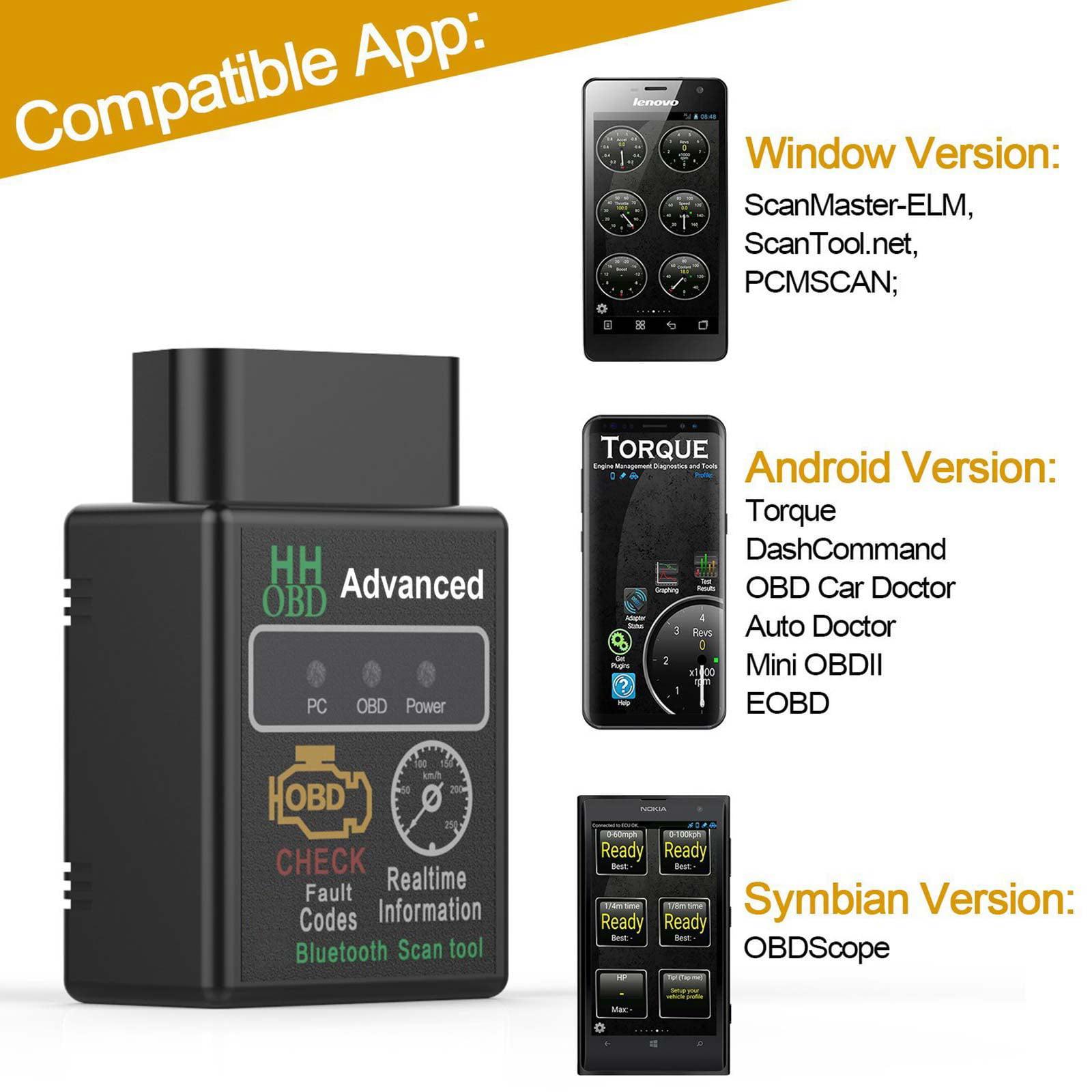 Mini ELM327 Bluetooth Car OBD2 Scanner Android Torque Auto Diagnostic Tool