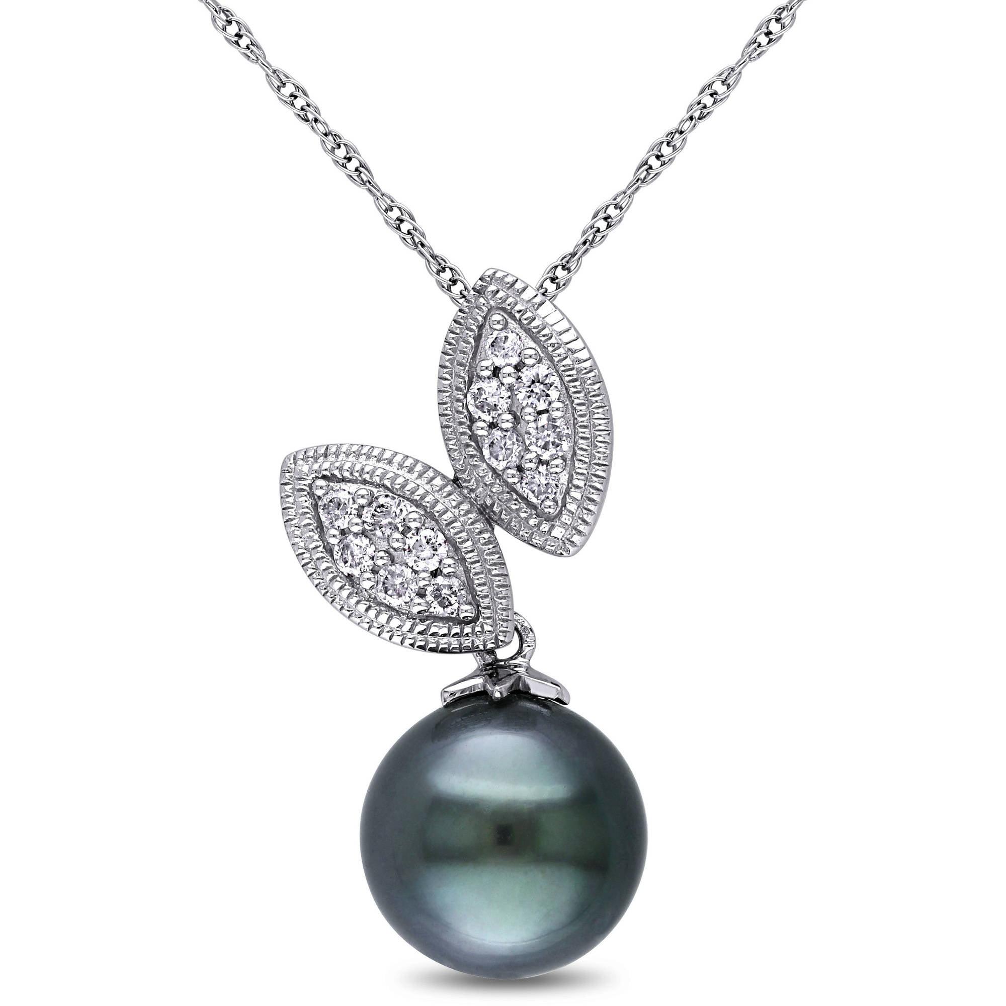 9-9.5mm Black Round Tahitian Pearl and 1/6 Carat T.W. Diamond 10kt White Gold Fashion Pendant, 17