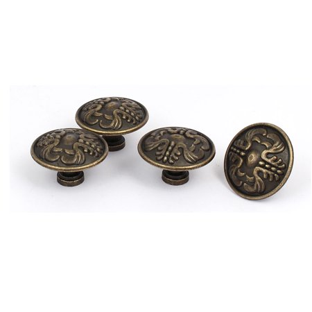Furniture Drawer Door Metal Vintage Style Round Pull Handle Knobs 37mmx24mm 4pcs