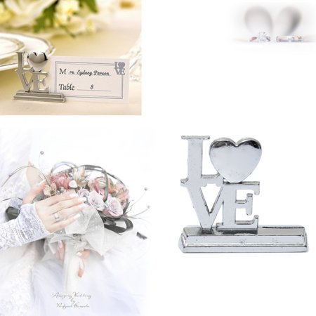 Silver Metal LOVE Heart Photo Name Number Place Card Holder Wedding Table Decor