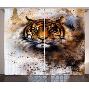 Tiger Curtains 2 Panels Set, Wild Beast Looking Straight into the Eyes of the Viewer Angry Looking Panthera Tigris, Window Drapes for Living Room Bedroom, 108W X 90L Inches, Multicolor, by Ambesonne