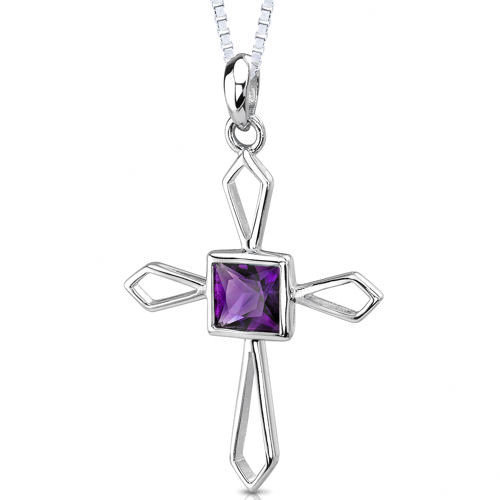 Oravo 1.00 Carat Genuine Princess Cut Amethyst Cross Pendant Necklace in Sterling Silver
