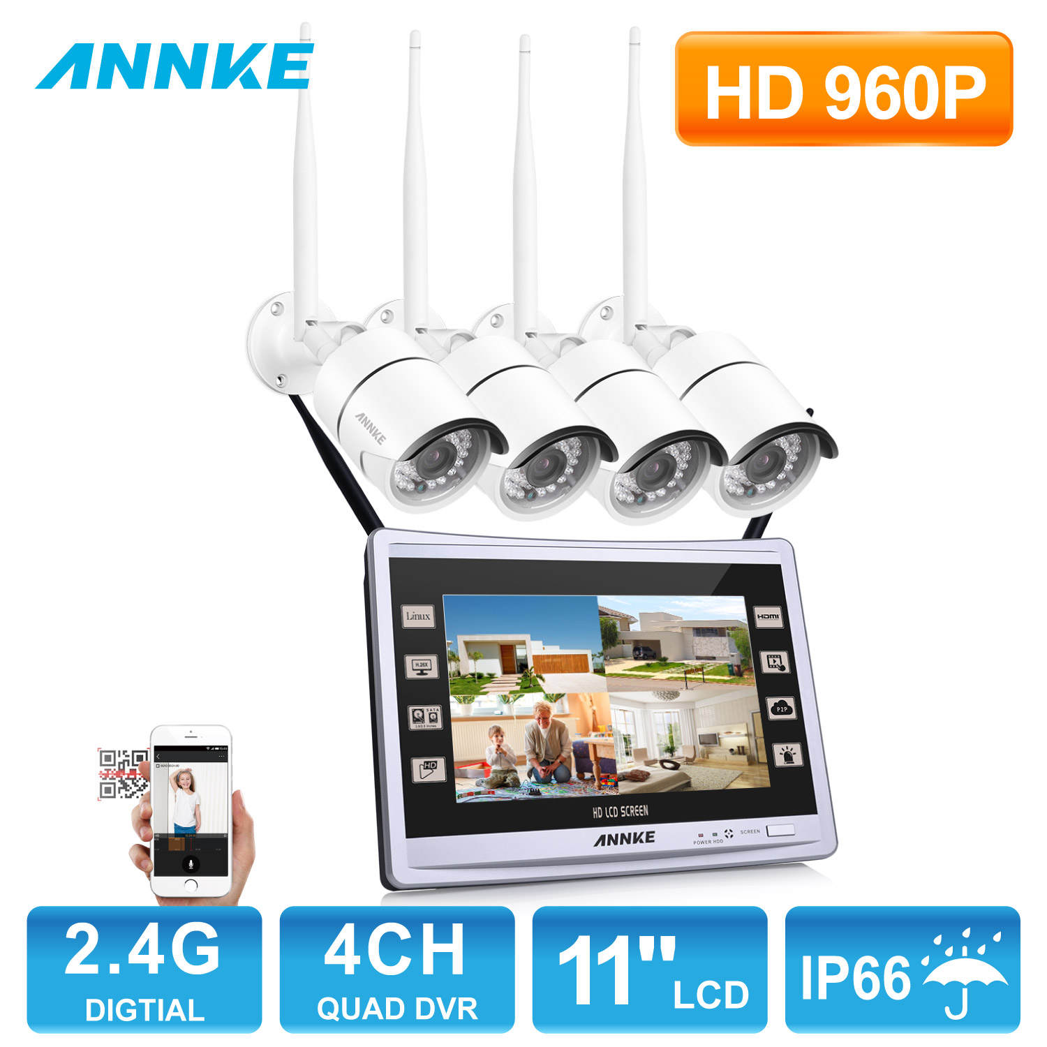 ANNKE 4CH HDMI NVR 1.3MP 960P Wireless IP CCTV WIFI Surveillance Security Camera System With NO Hard Drive Disk