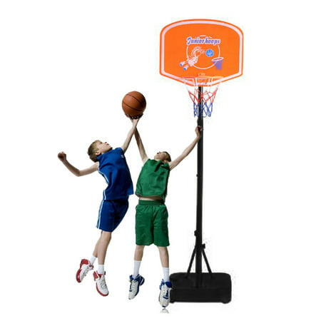 Zimtown 4.1ft - 5ft Portable Basketball Hoop, 1.25m-1.53m Height Adjustable Mobile Free Standing Mini Basketball Goals System with Net, Rim, Backbord, Great for Kids Youth Outdoor Indoor (Height Of A Basketball Hoop High School)