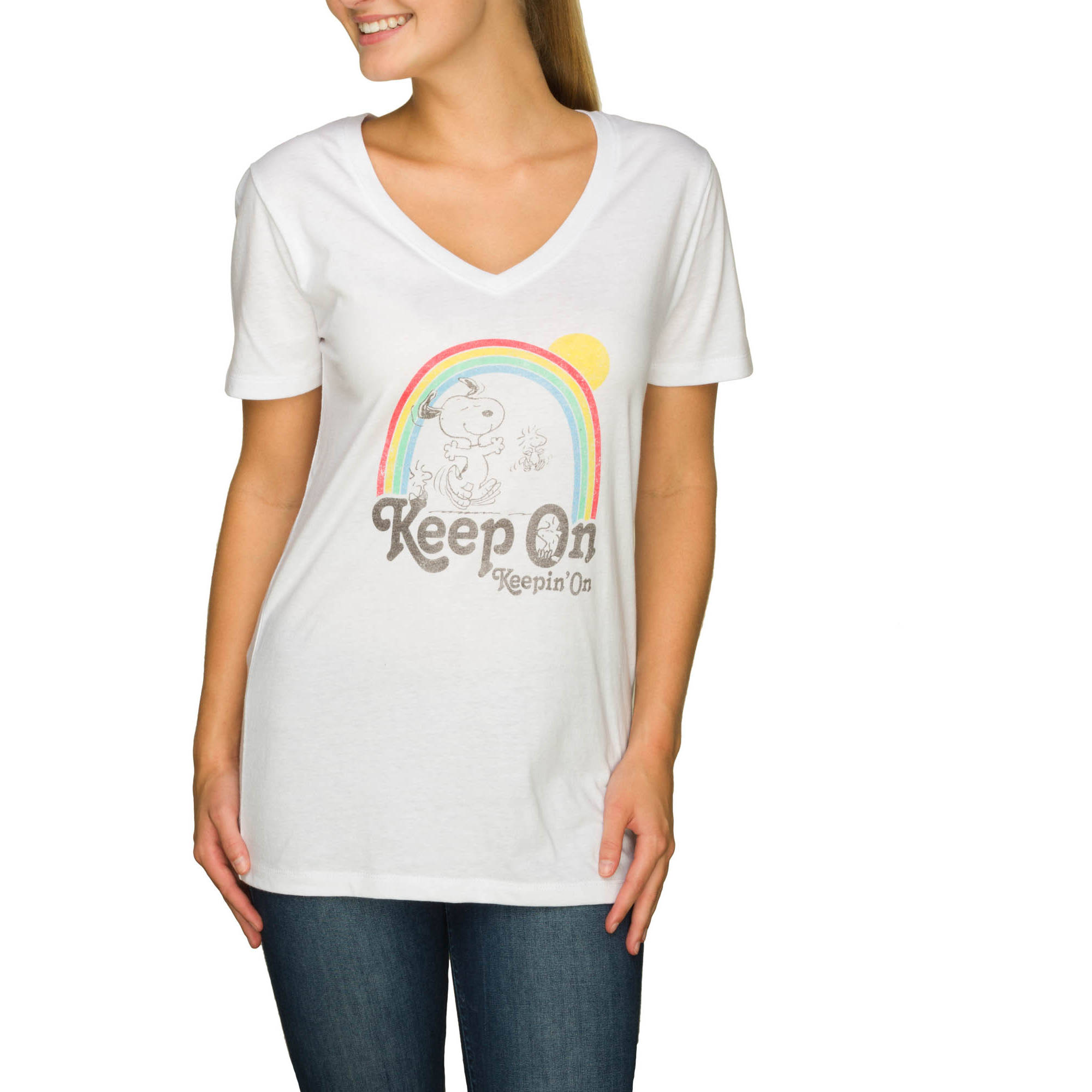 "Juniors' ""Keep On"" Graphic Boyfriend Tee"