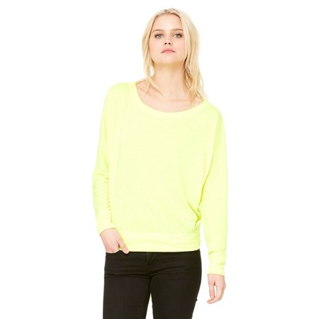 Branded Bella + Canvas Ladies Flowy Long Sleeve Off Shoulder T-Shirt - NEON YELLOW - L (Instant Saving 5% & more on min 2)
